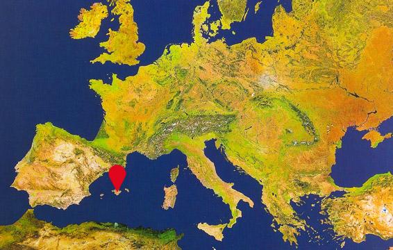 mapa de localización de las isla de Mallorca